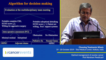 Optimal management of ovarian cancer ( Prof Abraham Peedicayil - Christian Medical College, Vellore, India )